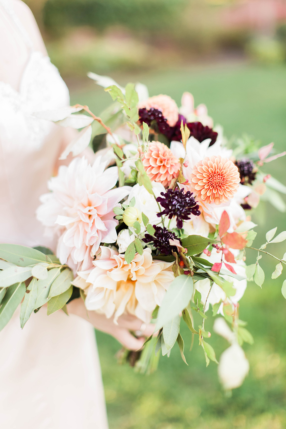 bouquet with peach dahlias - photo by Candice Adelle Photography http://ruffledblog.com/historic-garden-wedding-inspiration