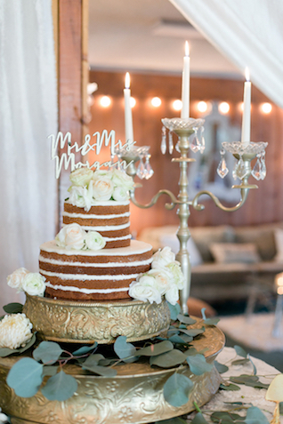 Naked cake with cutout cake topper | Leah Marie Photography