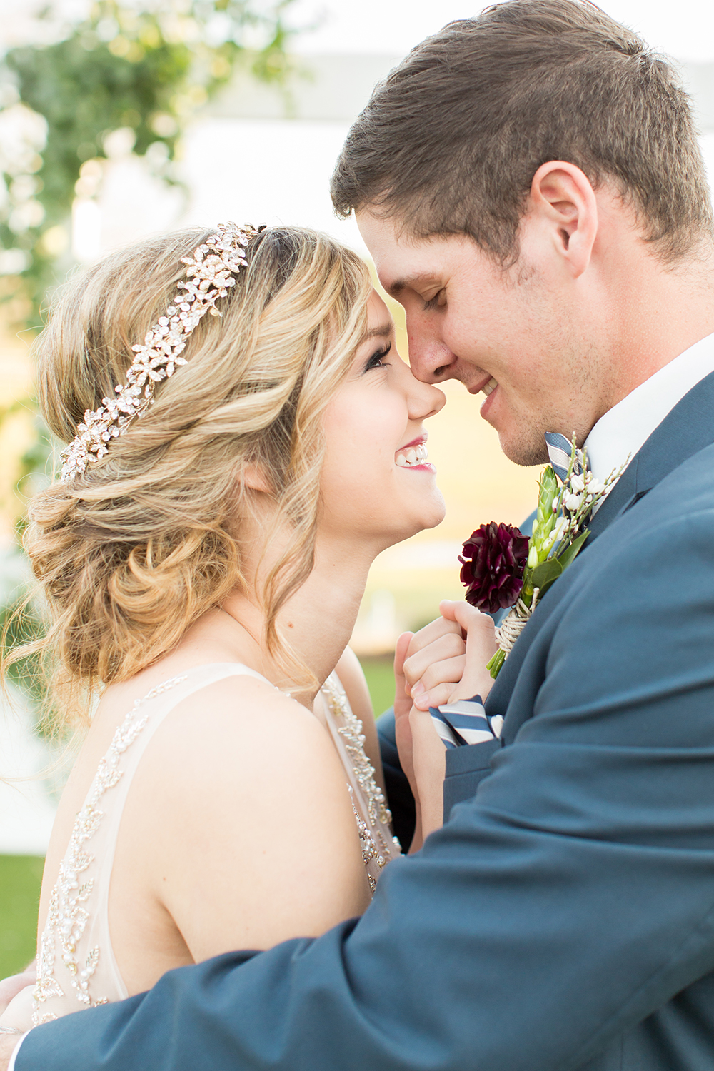 bride and groom - photo by Kasey Lynn Photography http://ruffledblog.com/birch-and-copper-wedding-inspiration-with-modern-romance