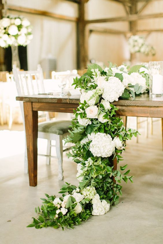 floral garland with hydrangea, greenery and garden roses