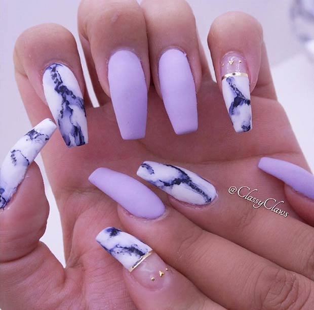 Matte Marble Nail Art Design for Long Nails