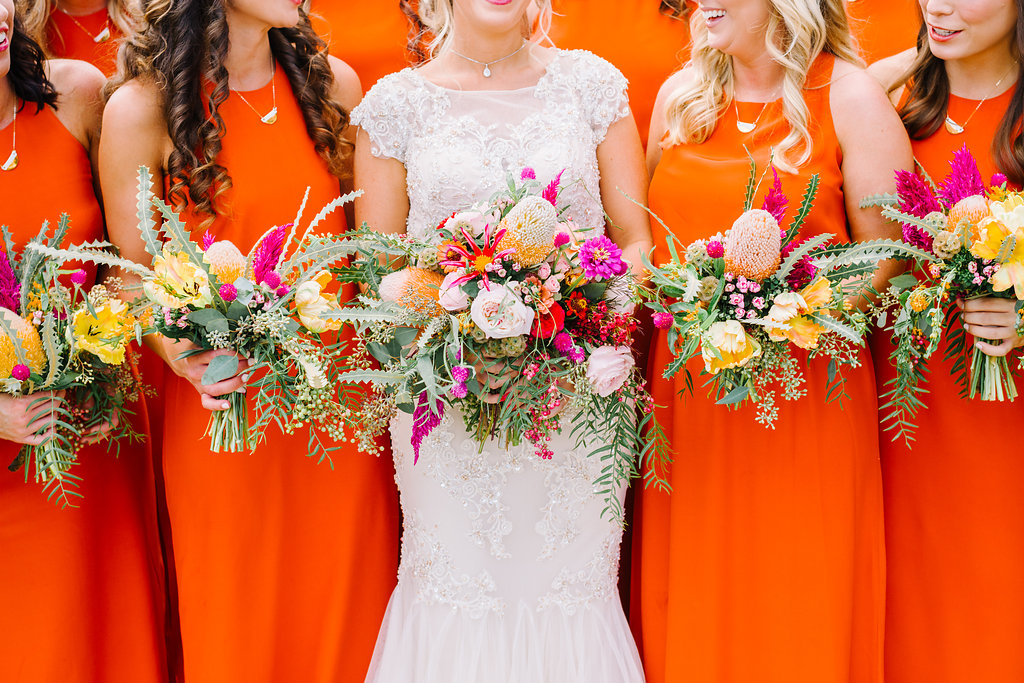 bridesmaid bouquets - photo by Cathrine Taylor Photography http://ruffledblog.com/colorful-alabama-wedding-with-desert-accents