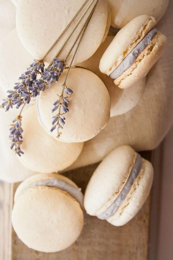 honey lavender macarons are a nice choice for a dessert table