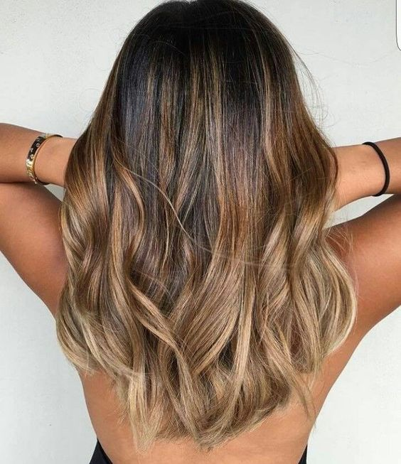 ombre balayage on black hair with caramel and honey shades