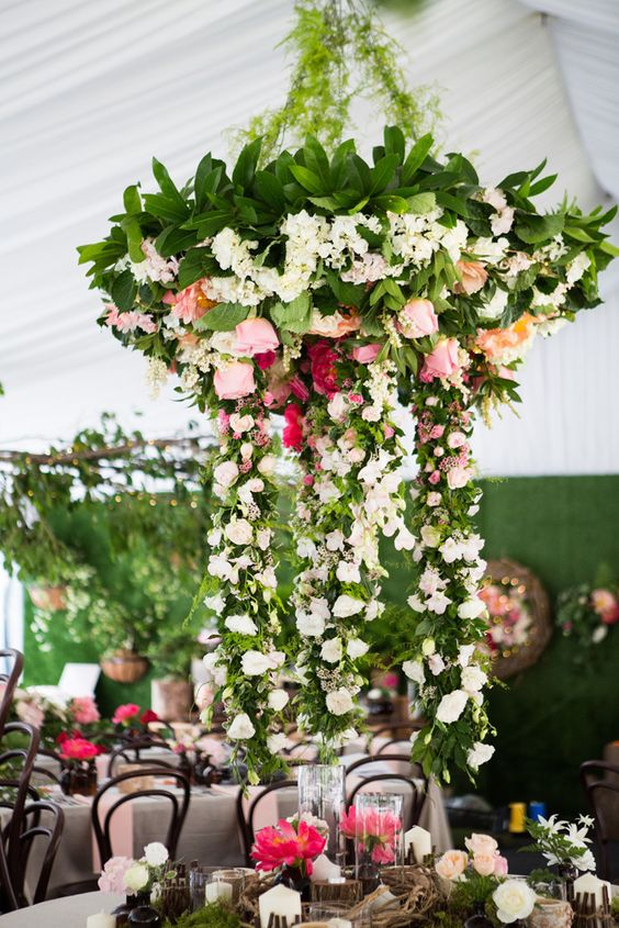 greenery chandelier with pink roses and hanging branches
