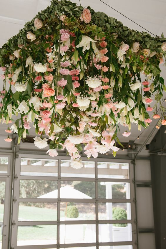 square chandelier with pink and white flowers