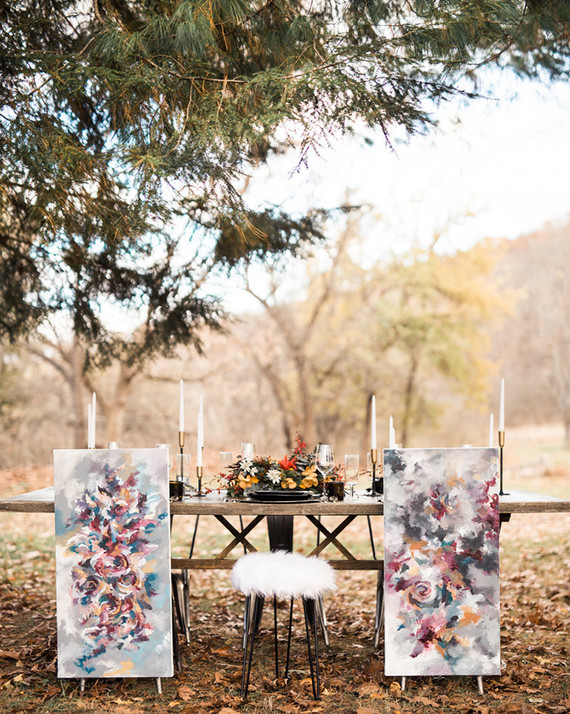 Two abstract art piece substituted traditional bride and groom chair signage