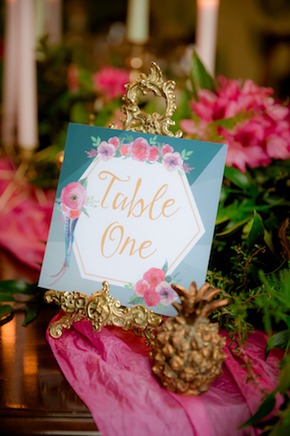 Aqua and pink table number card | Rocksalt Photography