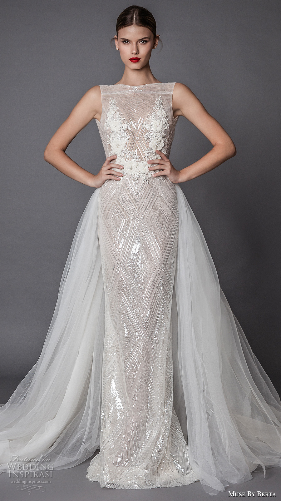 muse berta fall 2017 bridal sleeveless bateau neckline full embellishment geomatric pattern elegant glamorous sheath wedding dress a line overskirt open ultra low back sweep train (annora) mv