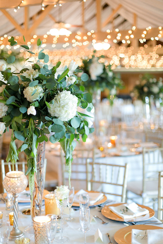 White hydrangea centerpieces | Leah Marie Photography