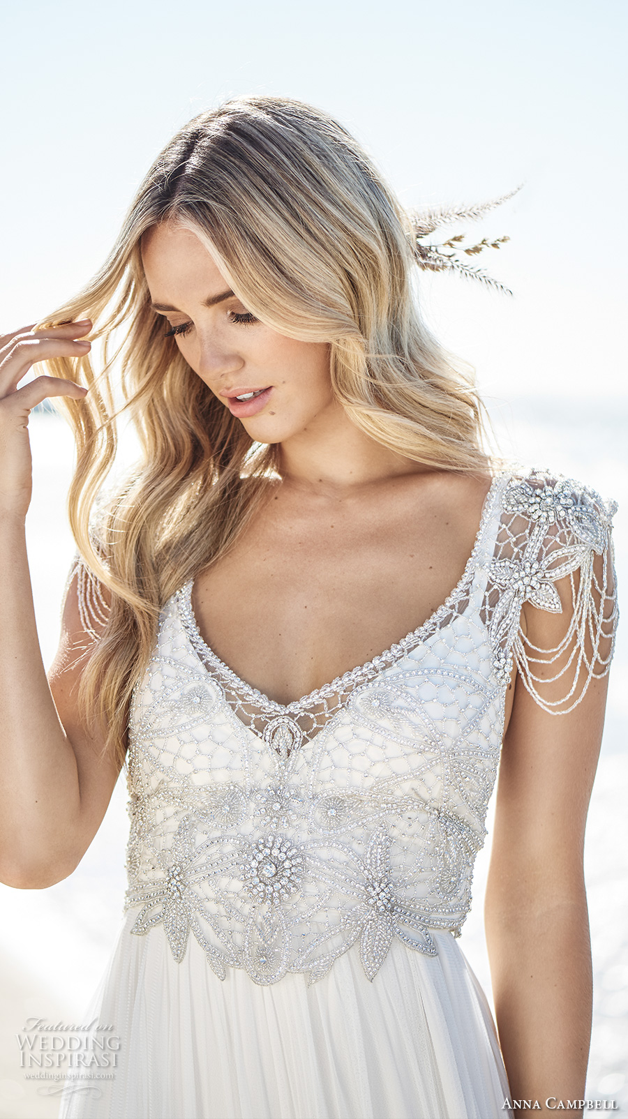 anna campbell 2017 bridal cap sleeves scoop neck heavily embellished bodice romantic bohemian empire wedding dress ribbon back sweep train (grace) zv