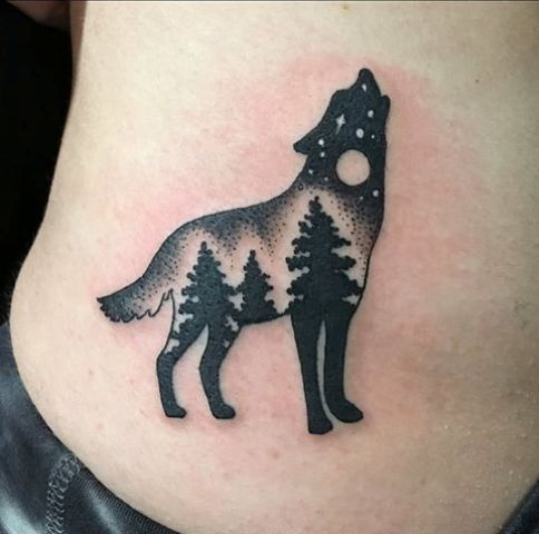 Unique wolf tattoo
