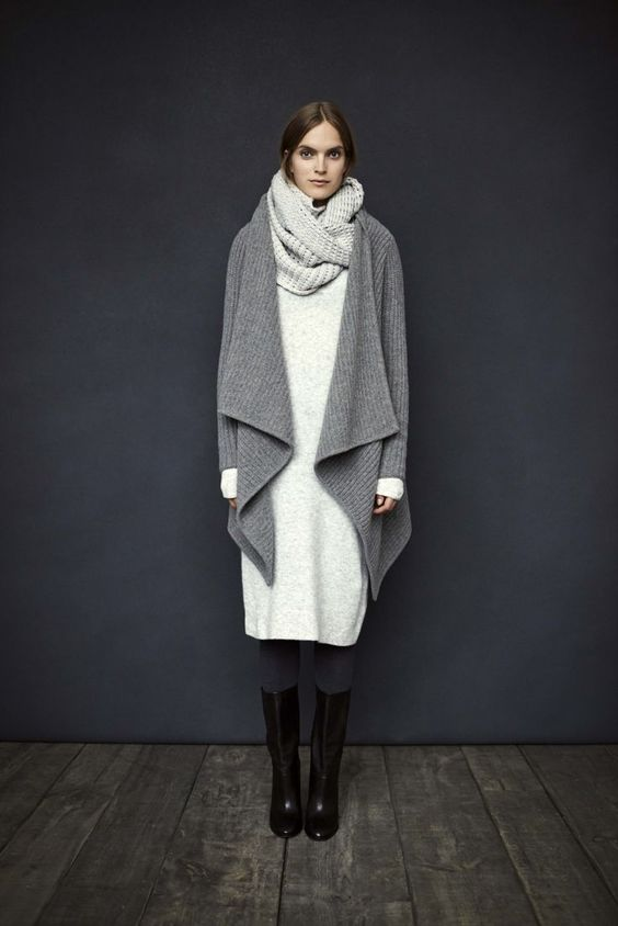 warm winter look with a long sweater dress, a knit cardigan and black boots