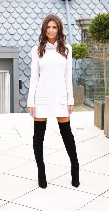 black over the knees and a white turtleneck sweater dress