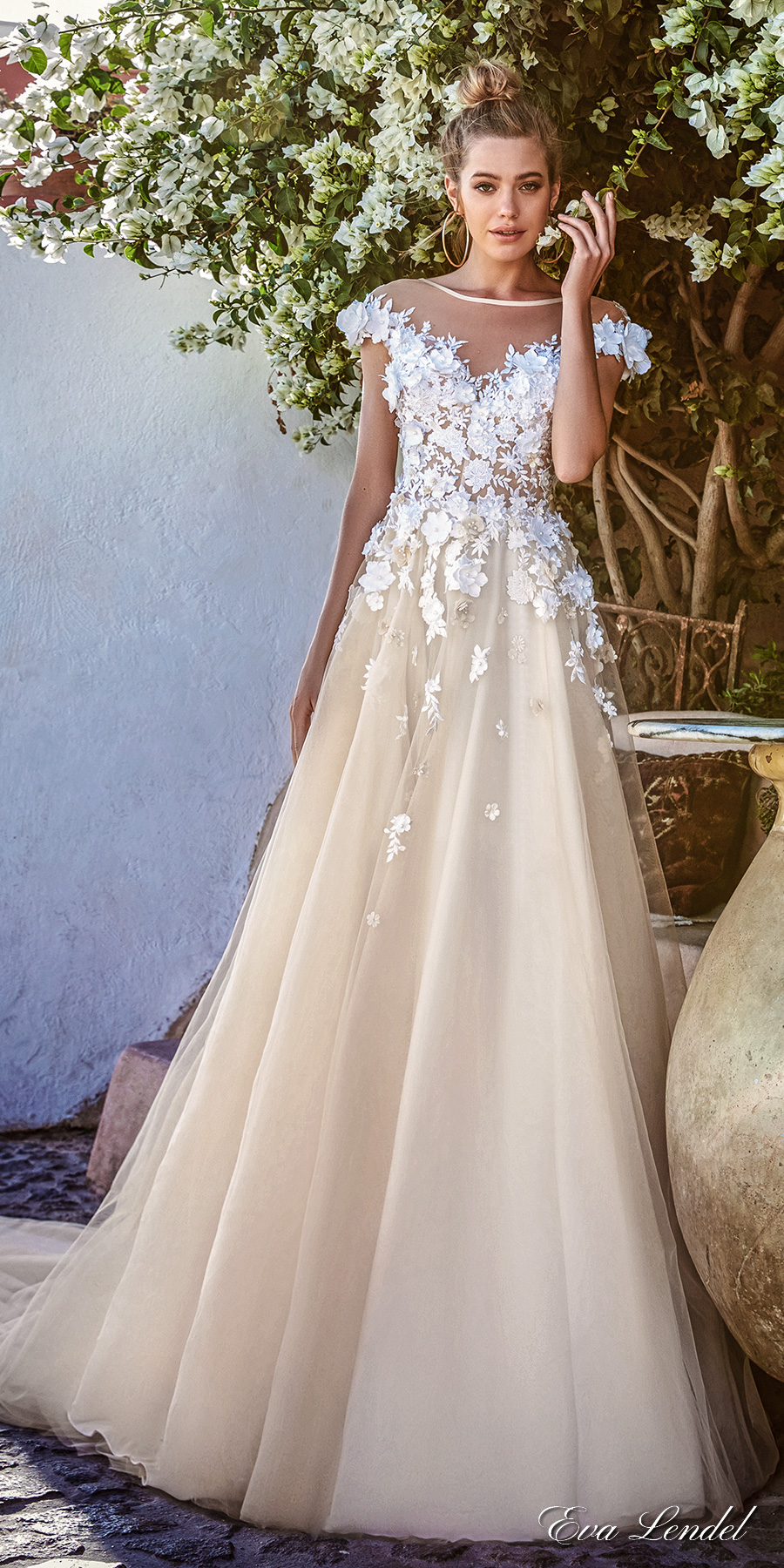 eva lendel 2017 bridal cap sleeves off the shoulder sheer bateau neckline heavily embellished bodice ivory color romantic a line wedding dress open v back royal train (holly) mv