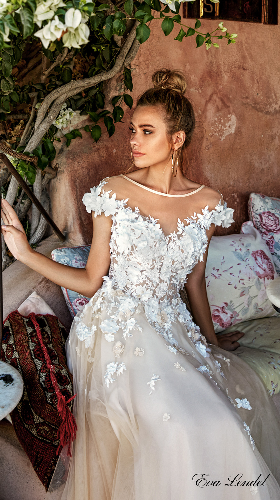 eva lendel 2017 bridal cap sleeves off the shoulder sheer bateau neckline heavily embellished bodice ivory color romantic a line wedding dress open v back royal train (holly) zv
