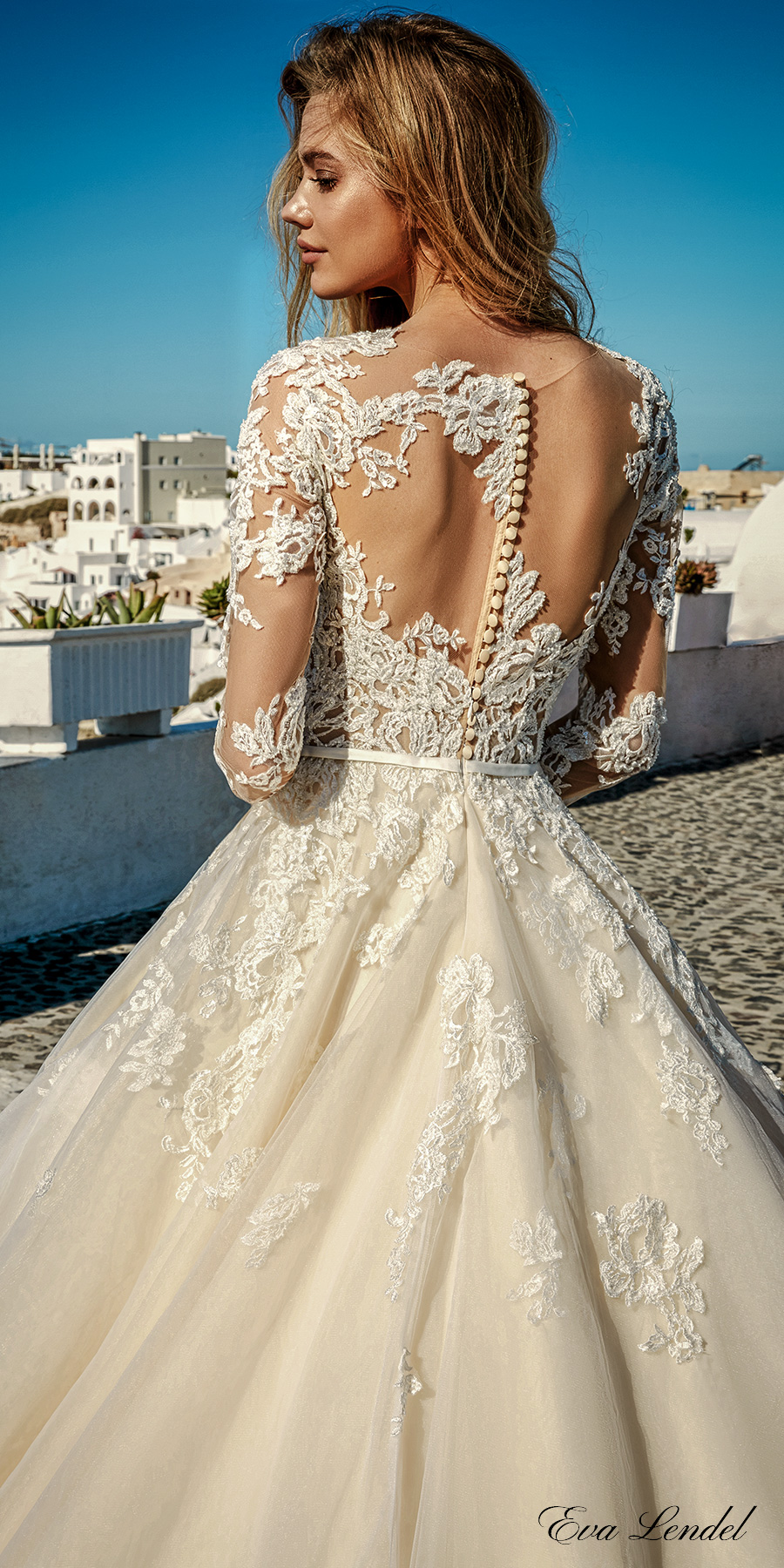 eva lendel 2017 bridal long sleeves v neck heavily embellished bodice romantic princess ivory a line wedding dress illusion lace back chapel train (allen) zbv