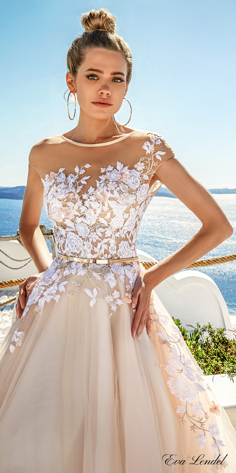 eva lendel 2017 bridal sheer cap sleeves sheer jewel neck sweetheart neckline heavily embellished bodice blush color romantic a line wedding dress open v back chapel train (kate) zv