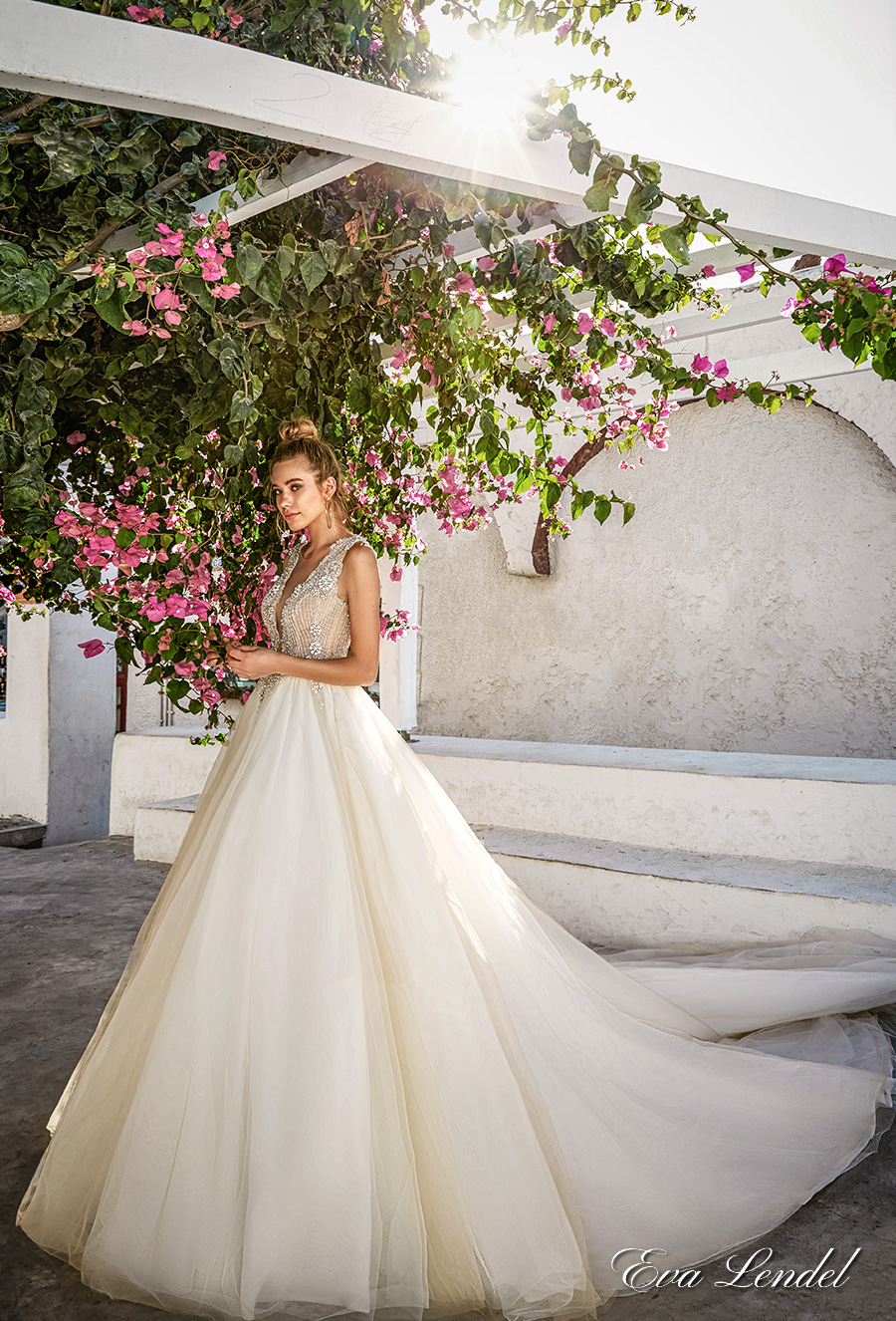 eva lendel 2017 bridal sleeveless deep plunging v neck heavily embellished bodice romantic sexy ball gown a line wedding dress sheer back chapel train (prue) mv