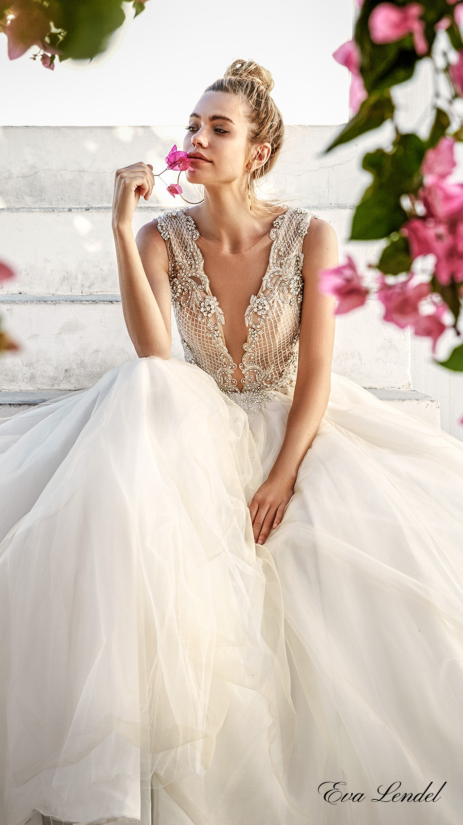 eva lendel 2017 bridal sleeveless deep plunging v neck heavily embellished bodice romantic sexy ball gown a line wedding dress sheer back chapel train (prue) zv