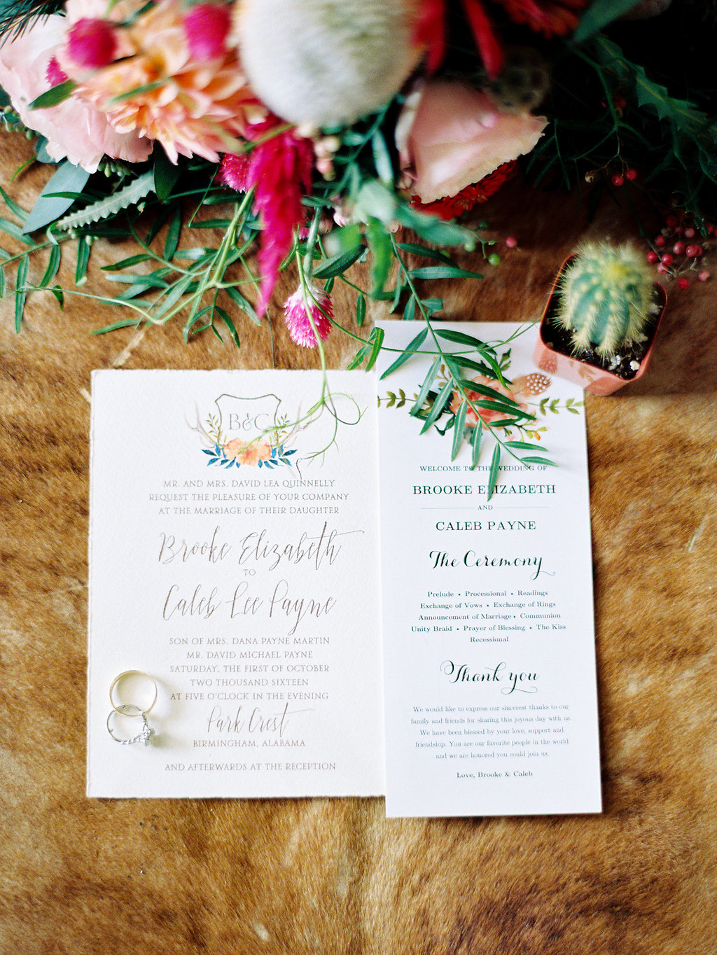 wedding stationery - photo by Cathrine Taylor Photography http://ruffledblog.com/colorful-alabama-wedding-with-desert-accents