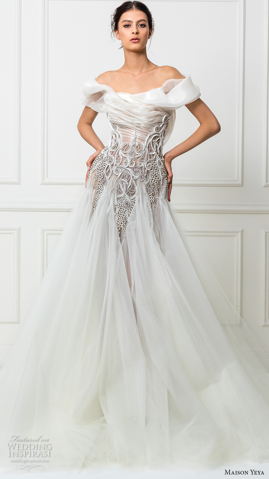 maison yeya 2017 bridal off the shoulder straight across neckline heavily embellished bodice tulle skirt glamorous a line wedding dress sheer back royal train (12a) mv