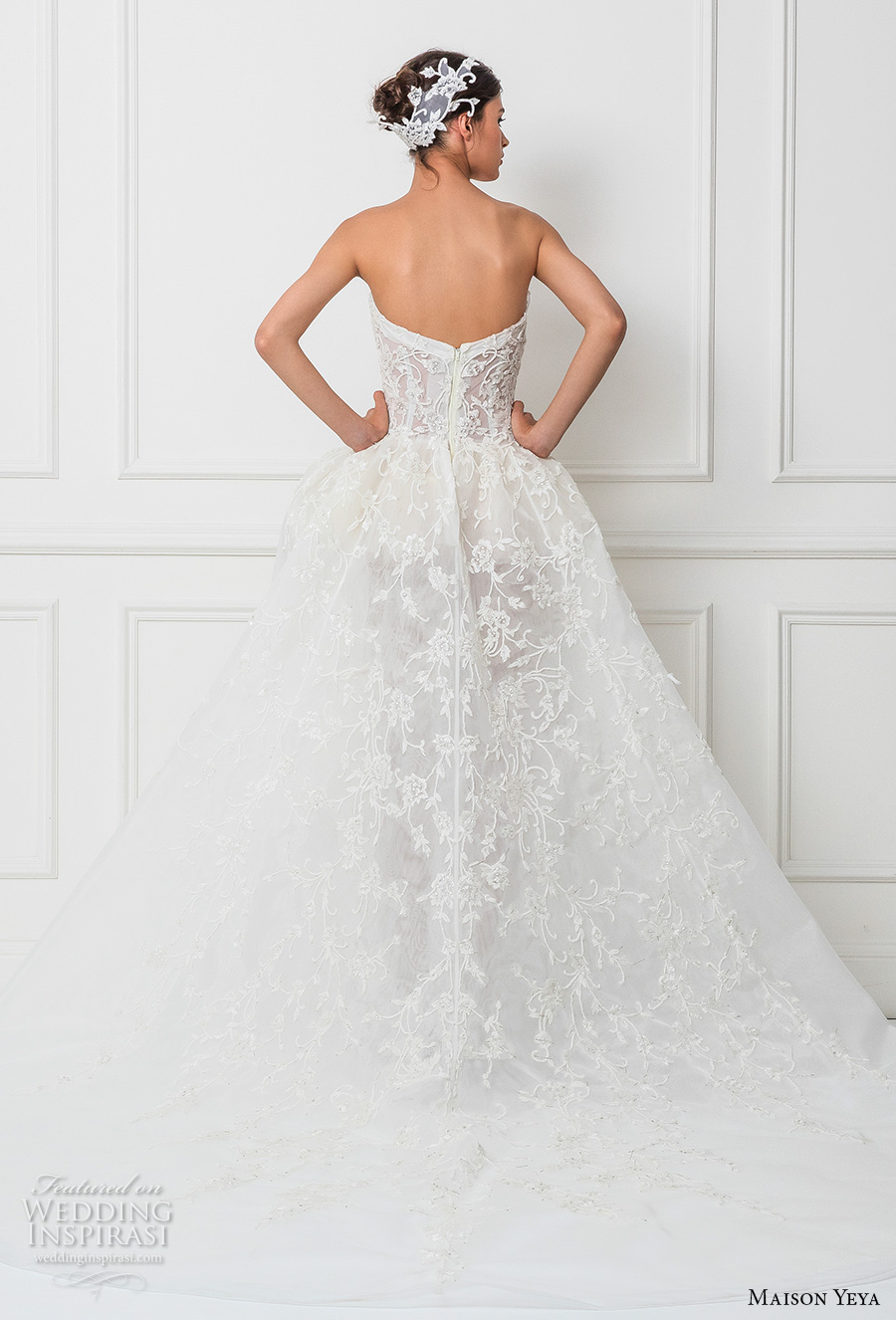 maison yeya 2017 bridal strapless semi sweetheart neckline heavily embellished bodice peplum sheer skirt sexy a line wedding dress royal train (11) bv