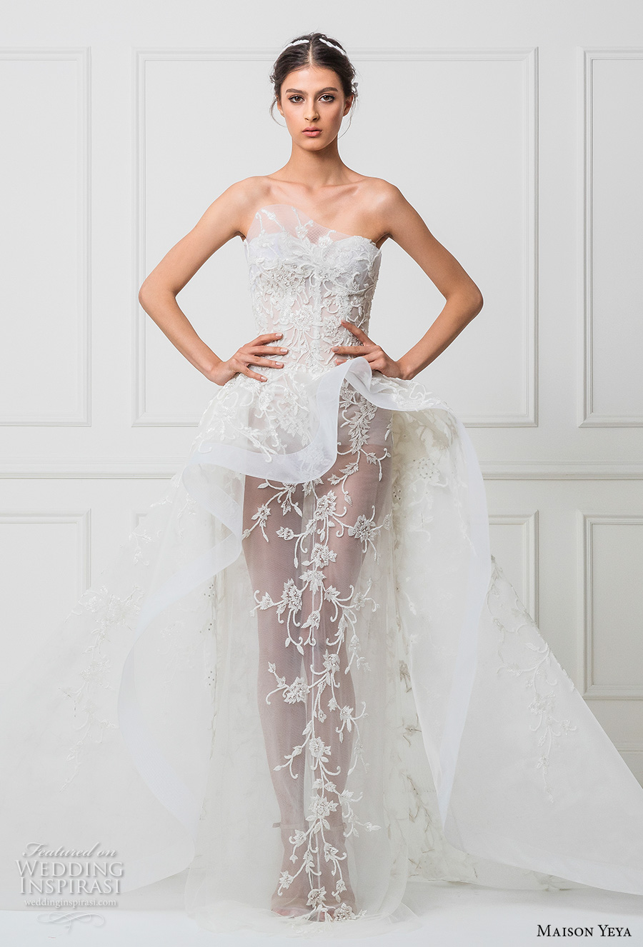 maison yeya 2017 bridal strapless semi sweetheart neckline heavily embellished bodice peplum sheer skirt sexy a line wedding dress royal train (11) mv
