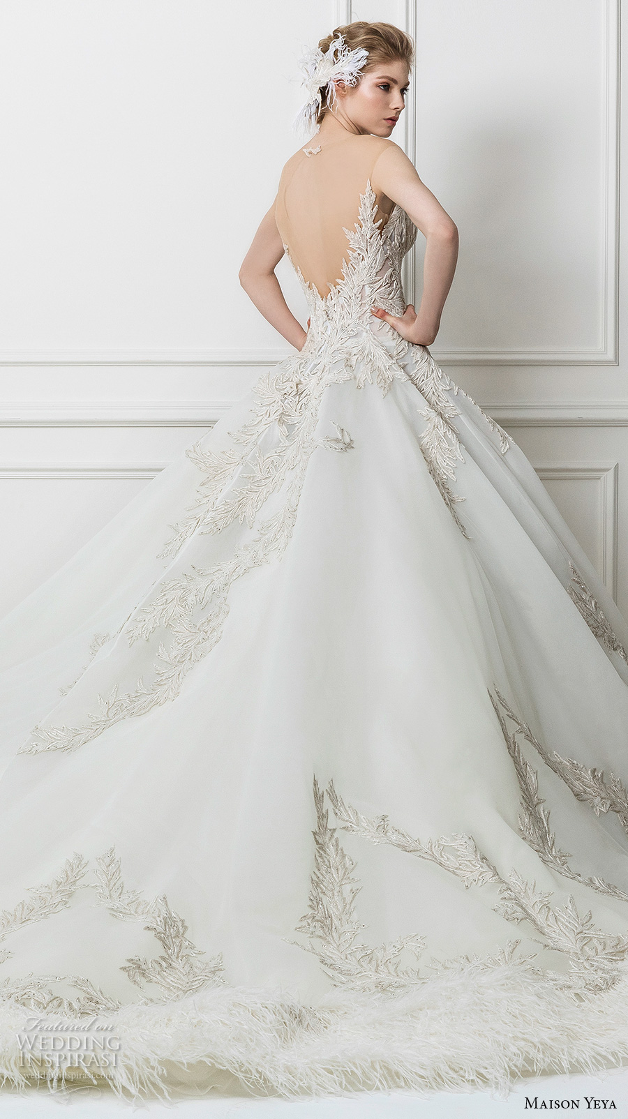 maison yeya 2017 bridal strapless sweetheart neckline heavily embellished bodice princess glamorous ball gown wedding dress open v back royal train (10) bv
