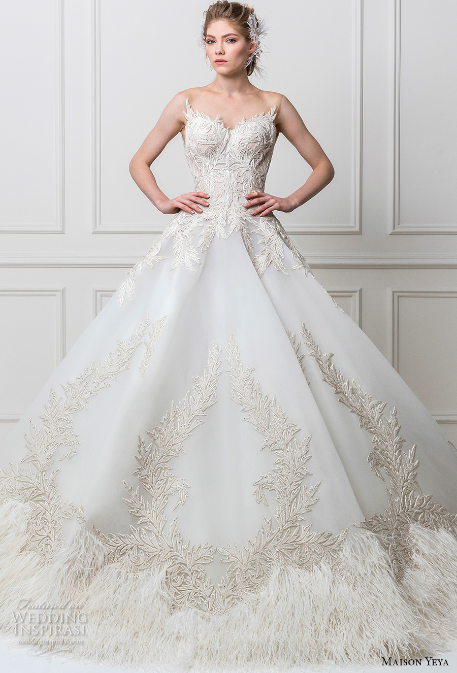 maison yeya 2017 bridal strapless sweetheart neckline heavily embellished bodice princess glamorous ball gown wedding dress open v back royal train (10) mv