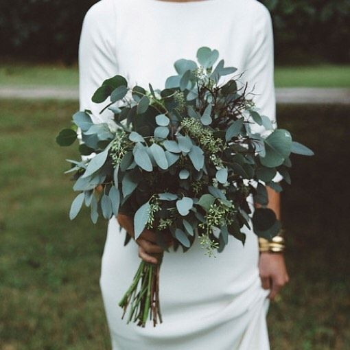 greenery wedding bouquets, especially eucalyptus ones, are very popular