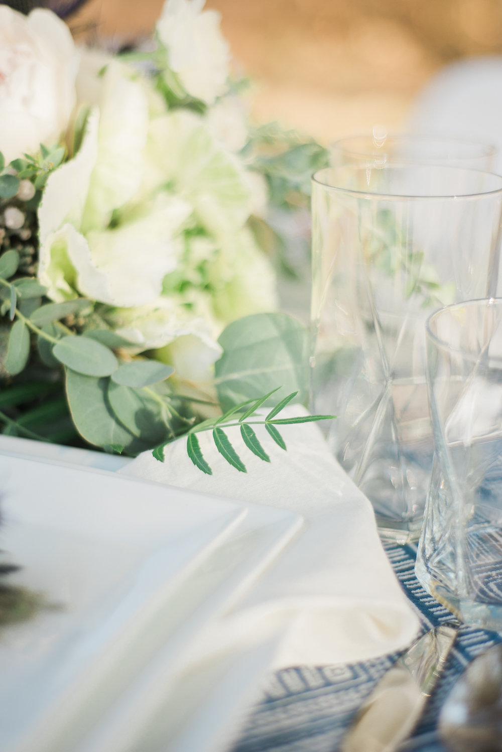 tablescape details - photo by Anya Kernes Photography http://ruffledblog.com/organic-wedding-inspiration-with-shades-of-blue
