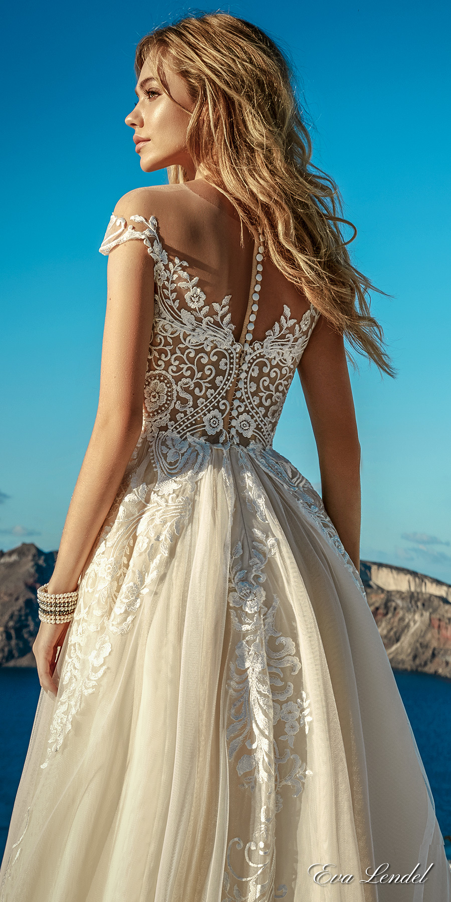 eva lendel 2017 bridal cap sleeves sweetheart neckline heavily embellished bodice romantic ivory color a line wedding dress lace back chapel train (cameron) bv