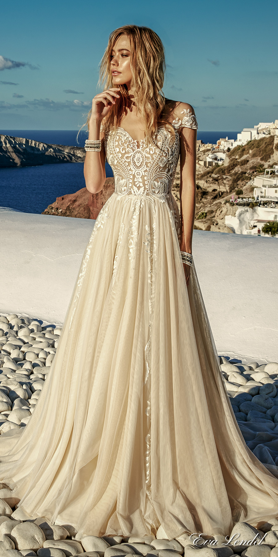 eva lendel 2017 bridal cap sleeves sweetheart neckline heavily embellished bodice romantic ivory color a line wedding dress lace back chapel train (cameron) mv