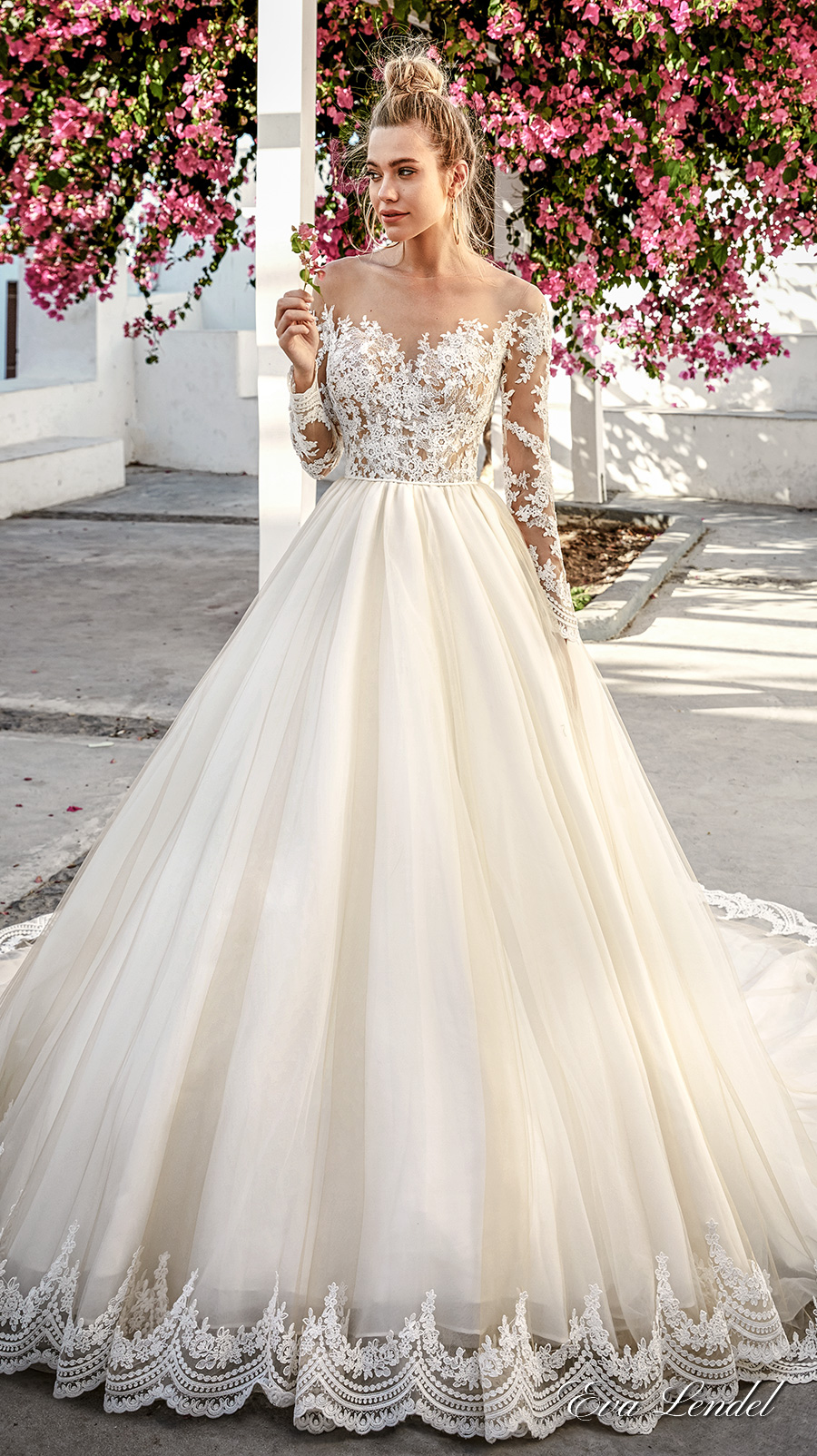 eva lendel 2017 bridal long sleeves off the shoulder sweetheart neckline heavily embellished bodice romantic princess a line wedding dress sheer back royal train (paige) mv