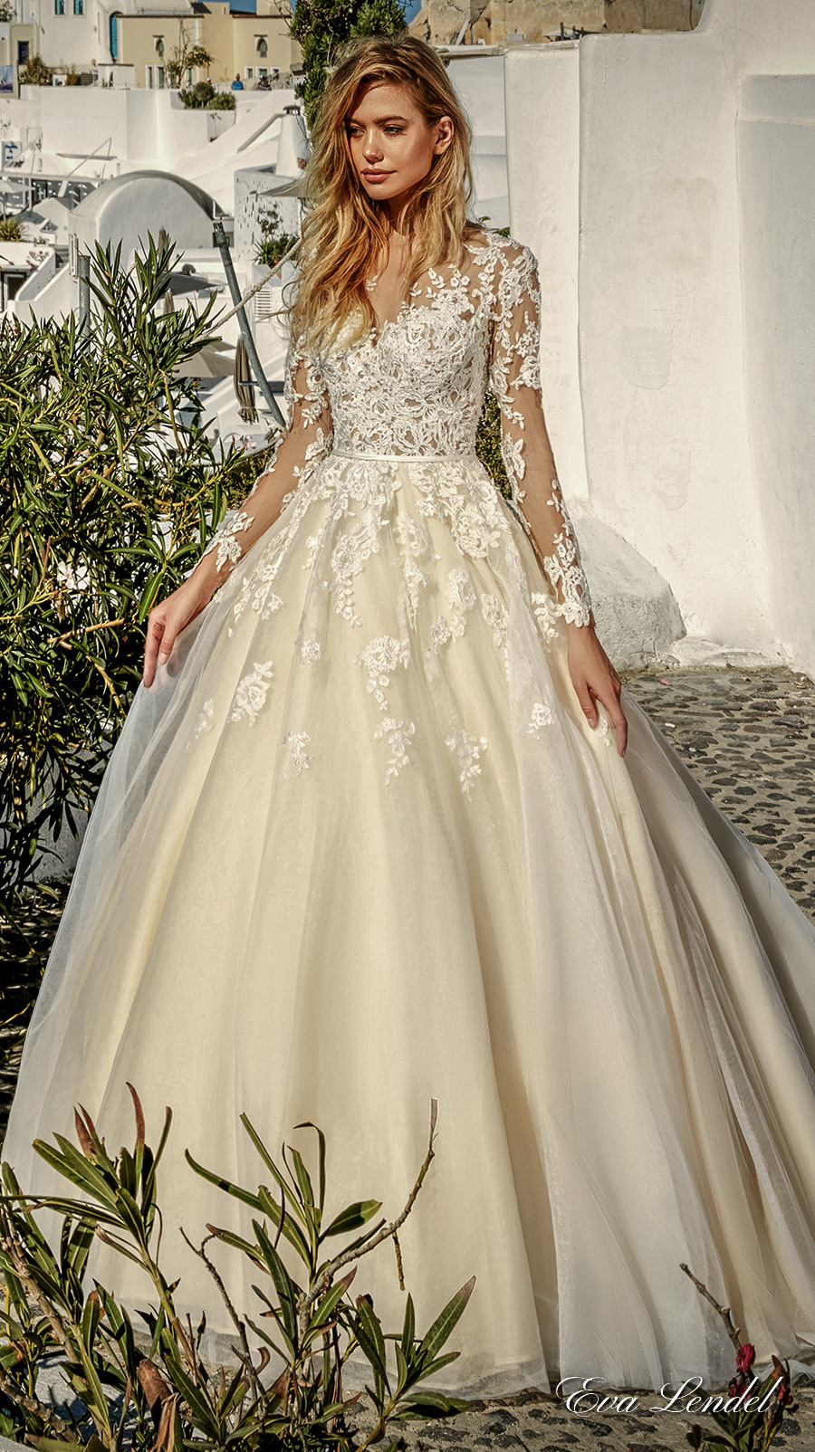 eva lendel 2017 bridal long sleeves v neck heavily embellished bodice romantic princess ivory a line wedding dress illusion lace back chapel train (allen) mv
