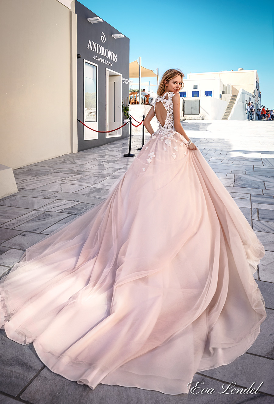 eva lendel 2017 bridal sleeves deep v neck heavily embellished bodice romantic pretty pink color a line wedding dress keyhole back royal train (britany) bv