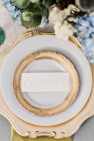 Classic gold rimmed place setting | Grey to Blue Photography