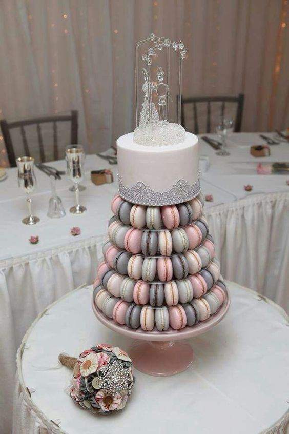 grey, pink and ivory macarons