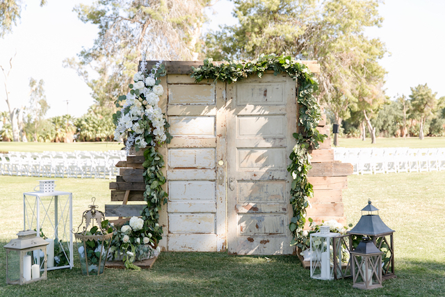 Vintage doors wedding ceremony aisle | Leah Marie Photography