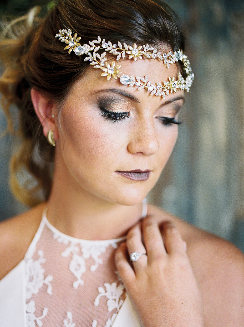 bridal hair accessories - photo by Alexandra Elise Photography http://ruffledblog.com/cobalt-and-amber-wedding-inspiration