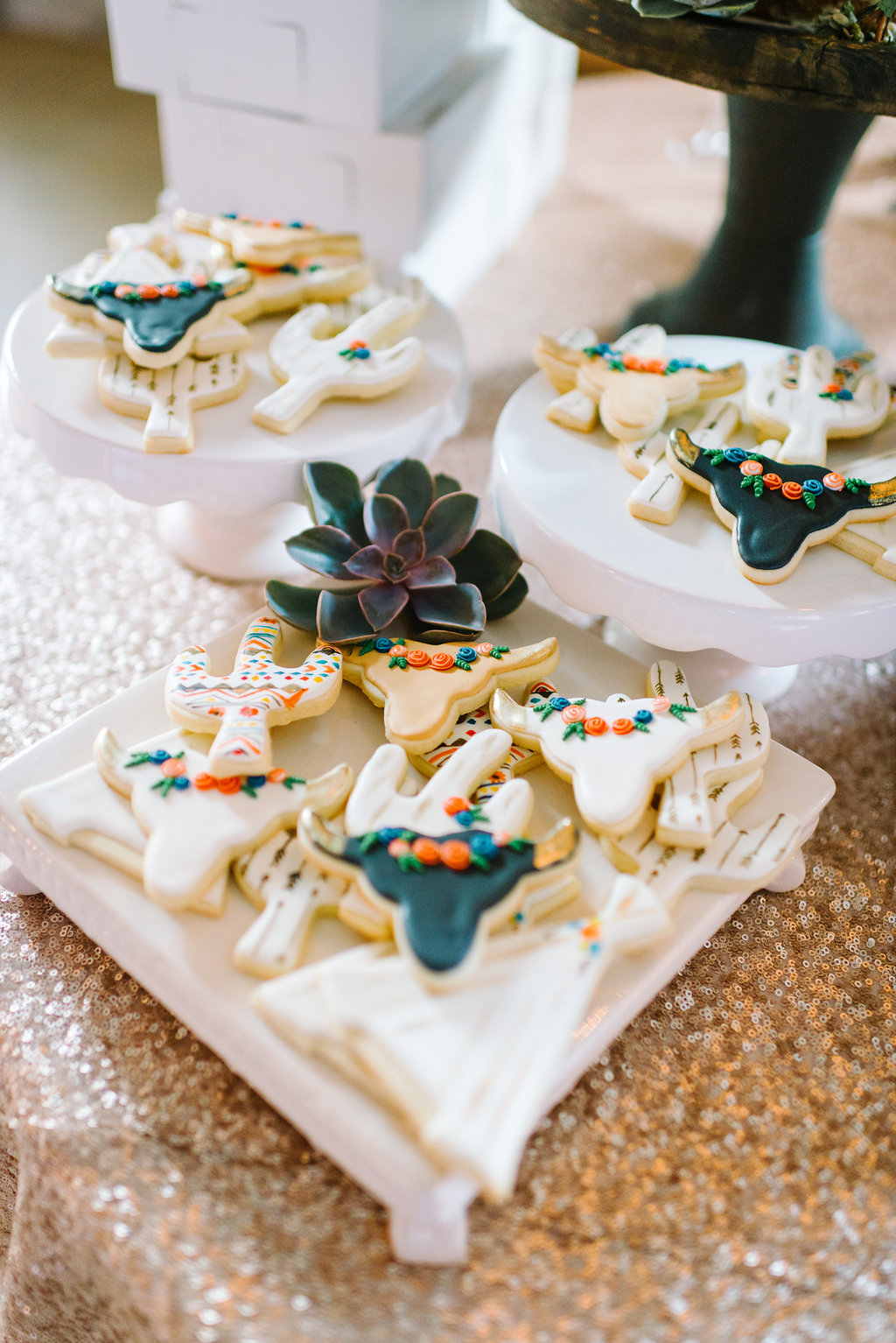 cactus cookies - photo by Cathrine Taylor Photography http://ruffledblog.com/colorful-alabama-wedding-with-desert-accents