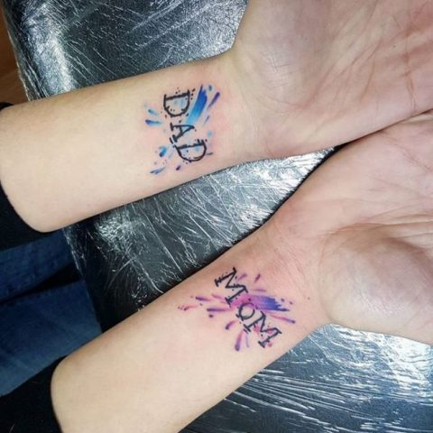 Watercolor tattoos on the wrists