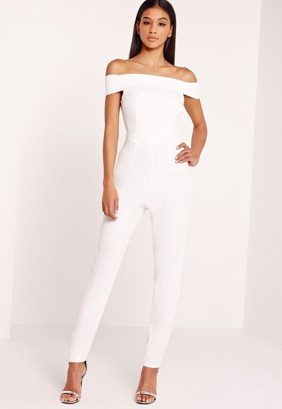 off the shoulder white jumpsuit and a pair of heels is perfect choice