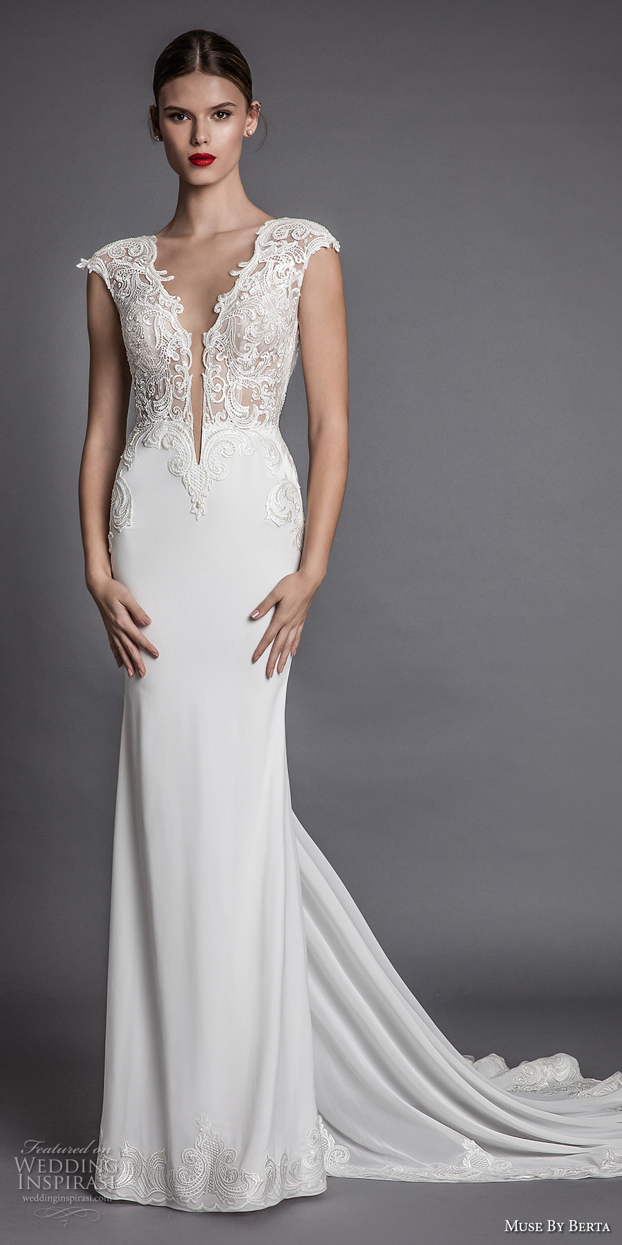 muse berta fall 2017 bridal cap sleeeves deep plunging v neckline heavily embroidered bodice elegant sexy sheath wedding dress open low back chapel train (aisha) mv