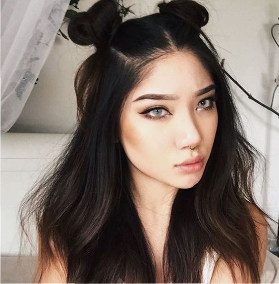 #13 - Half up Half Down Hairstyle with Space Buns