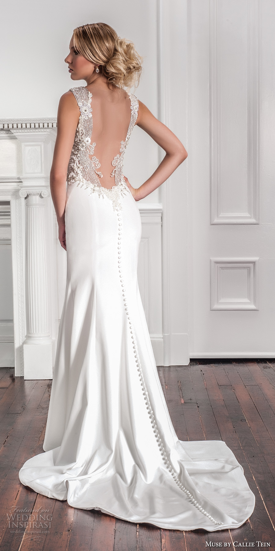 muse by callie tein fall 2017 bridal thick strap deep v neck simple clean bodice elegant modified a line wedding dress embellished low back chapel train (enya) mv