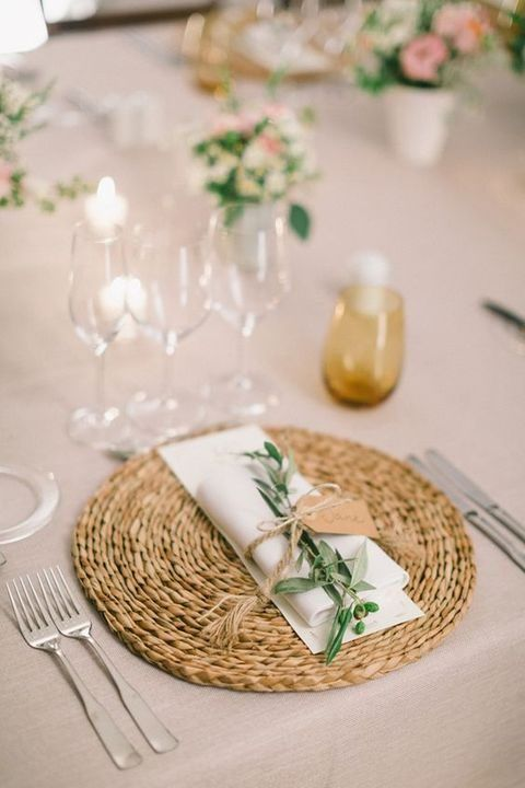 rustic neutral spring place setting with a rattan charger