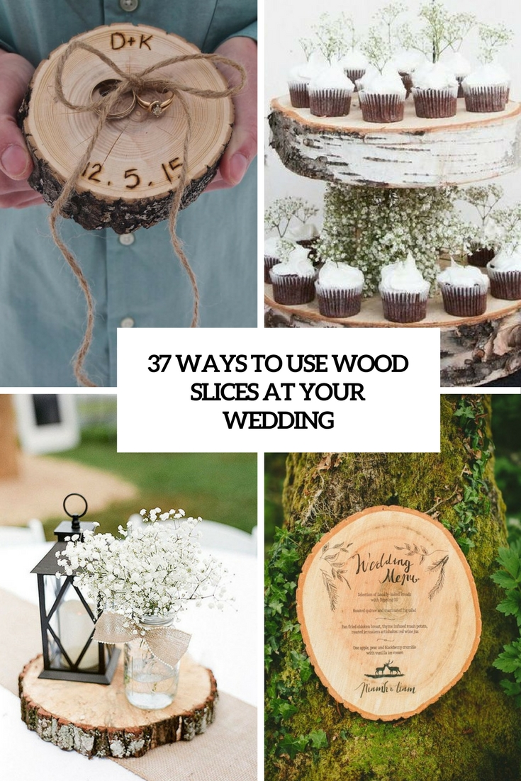 ways to use wwood slices at your wedding cover