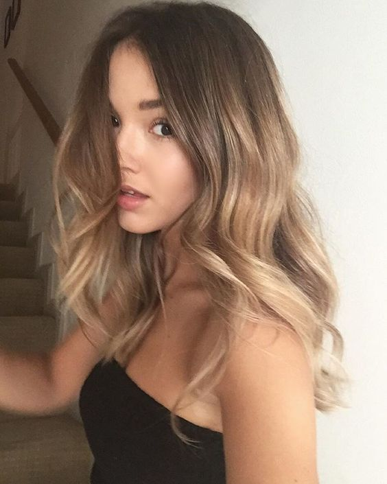 brown hair with ombre balayage to honey and blonde